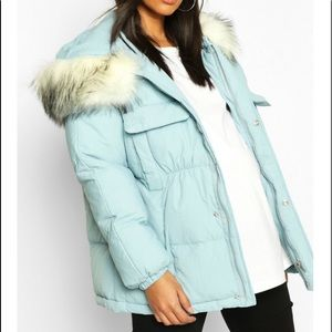 Boohoo Maternity Faux Fur Padded Puffer Jacket